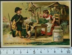 LIEBIG CHROMO DERNIERE RESSOURCE CHASSE 1880's CARTE-RECLAME PUBLICITÉ TESTU & MASSIN PARIS VICTORIAN TRADE CARD AD - Liebig