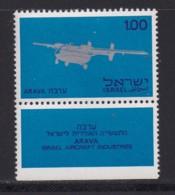 ISRAEL, 1970, Unused Stamp(s), With Tab, Arava Aircraft, SG450, Scannr. 17635 - Israël