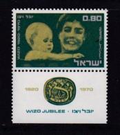 ISRAEL, 1970, Unused Stamp(s), With Tab, Wizo Jubilee, SG461, Scannr. 17639 - Israël