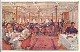 CPA ILLUSTRATEUR Ernest LESSIEUX La Salle à Manger Du Paquebot CHICAGO Compagnie Générale Transatlantique - Lessieux