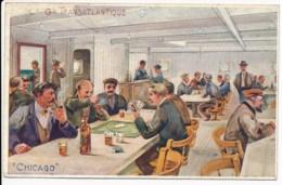 CPA ILLUSTRATEUR Ernest LESSIEUX Le Fumoir Du Paquebot CHICAGO Compagnie Générale Transatlantique - Lessieux