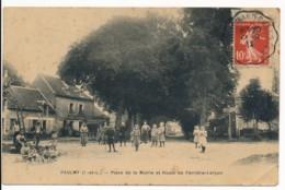 CPA 37 PAULMY Carte Rare Place De La Mairie Et Route De Ferrière-Larçon - France