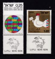 ISRAEL, 1974, Unused Stamp(s), With Tab, U.P.U. Centenary, SG584-585, Scannr. 17674 - Israël