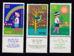 ISRAEL, 1974, Unused Stamp(s), With Tab, Arbour Day, SG588-590, Scannr. 17677 - Israël