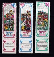 ISRAEL, 1976, Unused Stamp(s), With Tab, Purim Festival, SG628-630 Scannr. 17688 - Israël