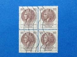 1968 ITALIA SIRACUSANA TURRITA 100 LIRE QUARTINA FRANCOBOLLI USATI STAMPS USED - 6. 1946-.. Repubblica