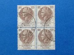 1959 ITALIA SIRACUSANA TURRITA 100 LIRE QUARTINA FRANCOBOLLI USATI STAMPS USED - 6. 1946-.. Repubblica