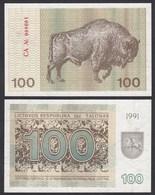 LITAUEN - LITHUANIA - 100 TALONAS 1991 AUNC (1-) PICK 38b    (25702 - Lituania