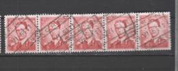 COB 925 En Bande De 5  Oblitération Centrale Chemins De Fer ACREN - 1953-1972 Lunettes