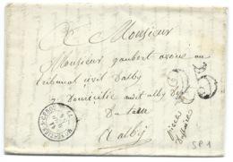 MARQUE POSTALE  / MONESTIES SUR CEROU TARN POUR ALBI  / 1854 / TAXE 25 DOUBLE TRAIT - Postmark Collection (Covers)