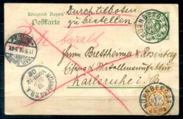 5261 - BAYERN - Ganzsache P 97 Und Zusatz-Frankatur; Eilboten, Bote Bezahlt - Nürnberg > Karlsruhe - Bavaria