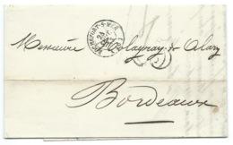 MARQUE POSTALE  / ROCHEFORT SUR MER POUR BORDEAUX  / 1853 / TAXE 25 DOUBLE TRAIT - Marcophilie (Lettres)