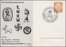 PP 122 KdF-Sammlergemeinschaft 1. WHW Hund Passender SSt ASCHAFFENBURG 26.3.1939 - Christentum