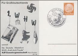 PP 122 KdF-Sammlergemeinschaft 1. WHW Buch Passender SSt WÜRZBURG 26.3.1939 - Christianisme