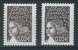 DD-/-690. TYPE LUQUET,  N° 3444, BISTRE BRUN &  BISTRE BRUN NOIR ,   *  *  ,   A.MAURY = 3422 - Neufs