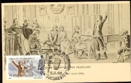 Romania, Maximum Card, Music, French Revolution, Composer Rouget De L'Isle Singing Marseillaise - Franz. Revolution
