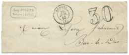 MARQUE POSTALE  / RENWEZ POUR BAR LE DUC  / 1863 / TAXE 30 DOUBLE TRAIT - 1849-1876: Période Classique
