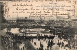 Bruxelles : 3 Cartes : 75e Anniversaire De L'Indépendance / Place Poelaert Et Place De La Bourse  / Défilé Militaire - Fêtes, événements