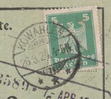 Ostpreussen Deutsches Reich Karte Mit Tagesstempel Kowahlen *** 1925 LK Oletzko RB Gumbinnen Werbung Camphorin EI - Briefe U. Dokumente
