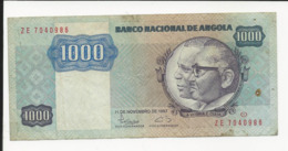 Angola 1000 Kwanzas 1987 Have Pin Holes At Right - Angola