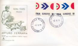Italia Italy 1970 FDC CAPITOLIUM 50° Volo Roma-Tokyo Di Arturo Ferrarin 50th Anniversary Rome-Tokyo Flight - Aerei