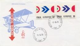 Italia Italy 1970 FDC VENETIA 50° Volo Roma-Tokyo Di Arturo Ferrarin 50th Anniversary Rome-Tokyo Flight - Aerei