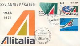 Italia Italy 1971 FDC 25° Anniversario Della Compagnia Aerea ALITALIA 25th Anniversary Of The ALITALIA Airline - Aerei