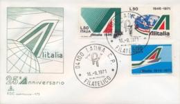 Italia Italy 1971 FDC CAPITOLIUM 25° Anniversario Della Compagnia Aerea ALITALIA 25th Anniversary ALITALIA Airline - Aerei