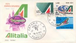 Italia Italy 1971 FDC ROMA 25° Anniversario Della Compagnia Aerea ALITALIA 25th Anniversary ALITALIA Airline - Aerei