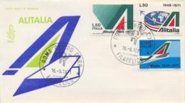 Italia Italy 1971 FDC VENETIA 25° Anniversario Della Compagnia Aerea ALITALIA 25th Anniversary ALITALIA Airline - Aerei