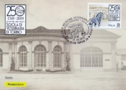 Italia Italy 2019 FDC Maximum Card 250° Anniversario Della Scuola Di Medicina Veterinaria Di Torino Veterinary Medicine - Briefmarken