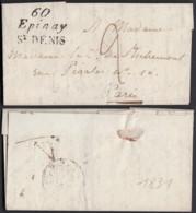 """FRANCE LETTRE DE 1831 """"60 EPINAY St DENIS """" VERS PARIS (VG) DC-4626 - Postmark Collection (Covers)"""