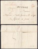 """FRANCE LETTRE DE PARIS 1817 """" 60 / P.P. """" PORT-PAYE ET POSTEE PRES LE GOUVERNEMENT VERS HAVRE (VG) DC-4632 - Postmark Collection (Covers)"""