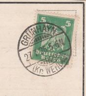Ostpreussen Deutsches Reich Karte Mit Tagesstempel Grünhayn Kr Wehlau 1926 Lk Wehlau RB Königsberg - Briefe U. Dokumente