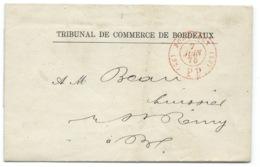 MARQUE POSTALE / BORDEAUX POUR BORDEAUX  / 1875 / PORT PAYE - Poststempel (Briefe)