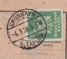 Ostpreussen Deutsches Reich Karte Mit Tagesstempel Grünhayn Bei Tapiau 1926 Lk Wehlau RB Königsberg - Briefe U. Dokumente