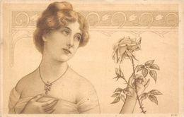 Beautiful Lady Woman Holding Rose, Illustration (Half Penny Stamp) Postcard 1908 - Souvenir De...