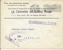 Krijgsgevangenenzending Van Brussel Naar Auvelais Censuur Brusse - WW I