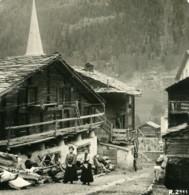 Suisse Zermatt Vieilles Rues Maisons Ancienne Photo Stereo 1900 - Photos Stéréoscopiques