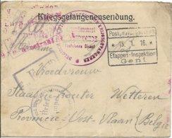 Krijgsgevangenenzending; Envelop Van Gent Naar Wetteren, 15.1.16, Censuren - WW I