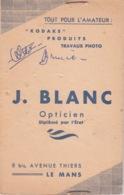 POCHETTE PHOTOGRAPHIE - PHOTOGRAPHE J. LEBLANC OPTICIEN - 8 BIS AV THIERS LEMANS 72 - PRODUITS KODAKS - Photographie