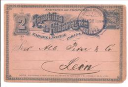 Nicaragua 1896 Corinto Marque Circulaire Entier Postal 2cts Pour Leon HG32 - Nicaragua