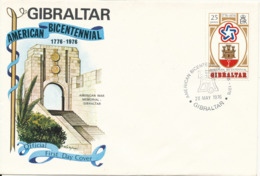 Gibraltar FDC American Bicentennial 1776 - 1976 28-5-1976 With Cachet - Gibraltar