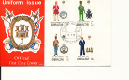 Gibraltar FDC Uniforms Complete Set Of 4 With Cachet - Gibraltar