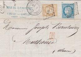 France Lettre Ouges Par Cintrey Pour L'Alsace 1873 - Marcofilie (Brieven)