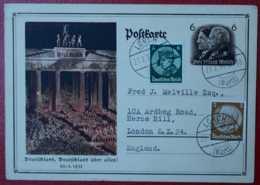 LORCH 1934 DEUTSCHLAND ÜBER ALLES ! POSTKARTE HERMANN SIEGER ENGLAND DEUTSCHES REICH ALLEMAGNE GERMANY - Brieven En Documenten