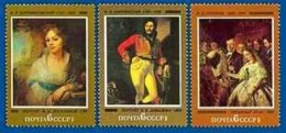 USSR Russia 1982 Russian Paintings ART Painting M. I. Lopukhina E. V. Davydov The Unequal Marriage Stamps MNH Mi 5161-63 - Art