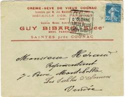 ENVELOPPE  A EN-TETE COGNAC GUY BIDARD SAINTES ADRESSE AUX SABLES D'OLONNE DAGUIN ISOLE EN ARRIVEE - Postmark Collection (Covers)