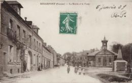 80 Senarpont La Mairie Et La Poste Cpa Carte Animée Glacée Cachet 1909 - Autres Communes