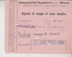 BIGLIETTO AUTOBUS ZEPPIERI LATINA / ROMA - Europe
